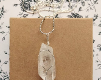 The Clear Crystal Pendant Wire Wrapped Necklace