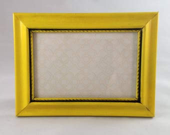 Cheerful Yellow and Black Upcycled Thrifted Picture Frame; 5x7 Picture Frame; Colorful Frame;