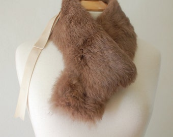 """High Fashion St Valentine's Day """"Gift For Her"""", 90's Genuine Rabbit Fur Collar, Adorned with Silk Ribbon. Milk Chocolate Color."""