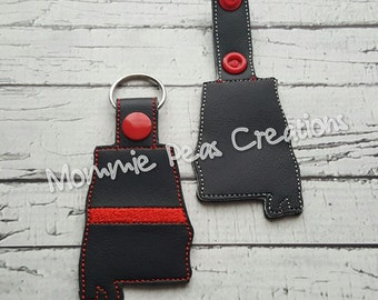 Alabama Red Line/Fire Department Silhouette Key fob/zipper pull First Responders