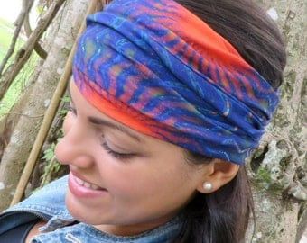 Blue Wide Headband, Yoga Headband, Running Headband, Fitness Headband, Women Hippie Headband, Bohemian Turban, Wide Head Wrap ,Boho Headband