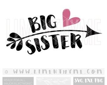 Big sister little sister SVG / little sister big sister gift shirt onesie cut files cutting files /baby girl onesie clipart/Ar