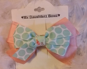 Fancy hairbow, Blue Polka dot hairbow, FreeSpirit collection, peach color hair bow, girls hair bows