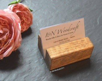 Rustic Wooden Business Card Holder | Craft Fair | Stand | Hand Made | Reclaimed Wood | Desk | Traditional Georgian Medium Oak | Personalised