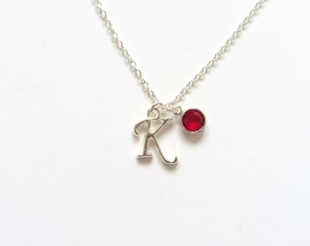 Personalized Birthstone Initial Necklace, Christmas Gift, Teen Gift, Birthday Gift, Gifts for Her, Initial Charm, Anniversary Gift