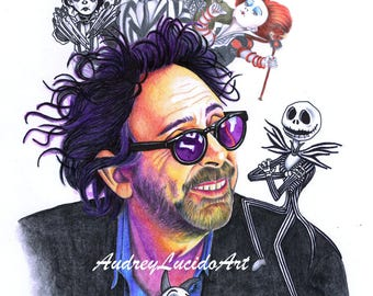 Printed design of the portrait of Tim Burton