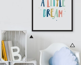 Dream a Little Dream Print, Modern Nursery Wall Art, Baby Room Art, Star Nursery Decor, Kids Room Decor Nursery Art, Nursery Printable Quote