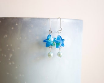Large Starfish and Faux Pearl Dangle Earrings