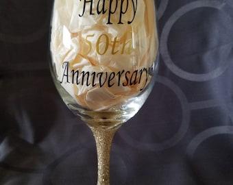 "Happy ""50th"" Anniversary Wine Glass"