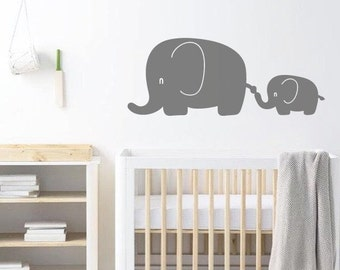 Elephant Nursery Wall Decal, Wall Art Sticker/Decor For Childrens Bedroom - Animal Wallpaper