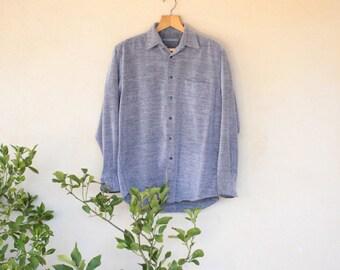 Vintage Grey Cord Long Sleeved Shirt - Size Medium
