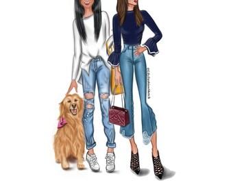 Custom Couple Fashion illustration