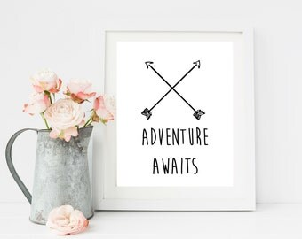 Adventure Awaits, Adventure Nursery Decor, Gift for Travel, Typography Prints,  Black and White Wall Art, Adventure Print, Playroom decor