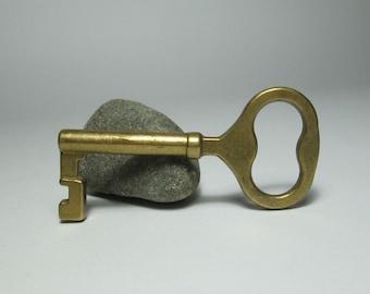 """Vintage Brass Key, Genuine Brass Key, Brass Skeleton Key, Antique Key, 2,8"""" Wedding Key, Collectible Key, Brass Figurine, Decoration, 50s"""