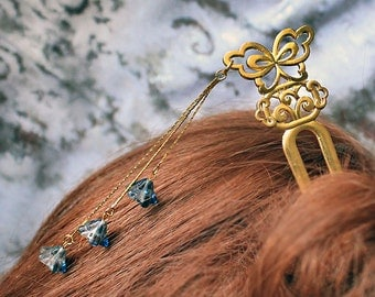 bridal hair jewelry blue headpiece  blue jewelry/for/hair wedding jewelry woodland jewelry butterfly hair accessory gift gold hair pick h30
