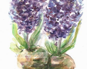 Purple Hyacinth Flower Wall Art ORIGINAL Small Watercolor Painting Botanical Illustration Hand Painted Wall Decor Gift for Her, Mother 5x7