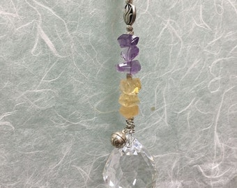 Amethyst Citrine Sun Catcher, Multicolor Sun Catcher, Gemstone Lotus Prism, Gemstone Prism, Amethyst and Citrine Prism, Beaded Prism, #JS025