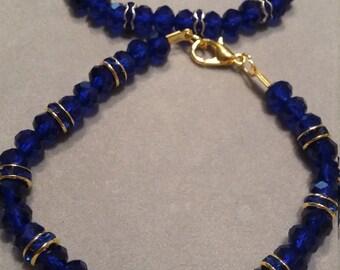 Blue Rhinestone & Glass Beaded Bracelet