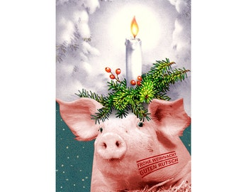 """Christmas card """"Santa Lucia"""" (25), new year card, pork, Christmas candles, Holly, Fairy Queen, new year greeting"""