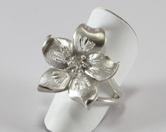 """Large flower ring 925 Silver/1000-""""free shipping"""""""