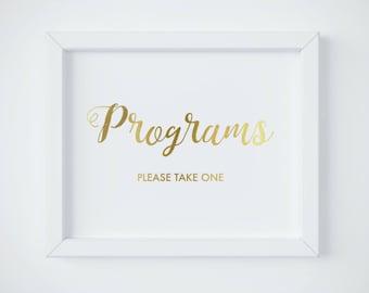 Program Sign, Program Sign Printable, Wedding Program Sign, Gold Printable Signage, Gold Wedding Sign, INSTANT DOWNLOAD