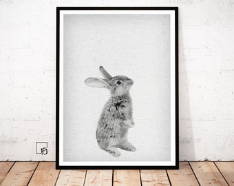 Rabbit Print, Woodlands Nursery Art, Rabbit Wall Decor, Black and White Baby Animal Print, Printable Black and White Bunny, Digital Download