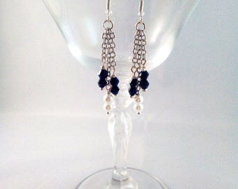 """Silver earrings """"Chains in black and white"""""""