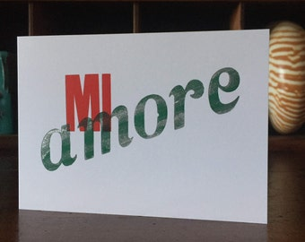 Mi Amore (My Love) Letterpress Greeting Card