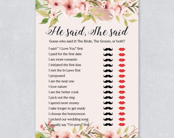 He said she said, Floral bridal shower game, bohemian watercolor, pastel cream color, hen party game, printable game, INSTANT DOWNLOAD