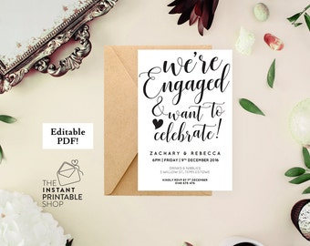 Engagement invitation printable engagement party invitation, Editable invitation template, Were engaged, Engagement party invites
