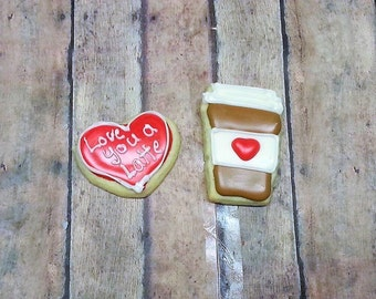 Latte Cookies One Dozen - Love You A Latte Cookies - Coffee Cookies - Coffee Lover Gift - Decorated Cookies - Best Friend Cookies
