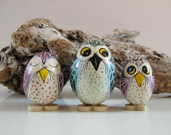 Family of owls collectible hand painted on wooden eggs