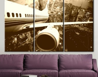 Aircraft, airliner, flying over the city, aircraft in flight, flight, plane canvas, black and white, Printing on canvas, picture