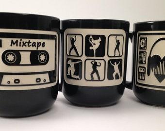 "Set of 3 deep sandblasted ""Retro collection"" mugs."