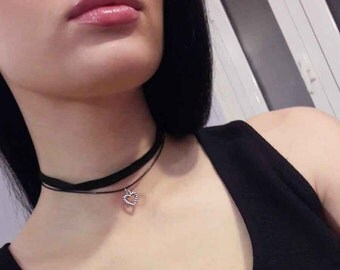 Black Choker  Heart Two band Choker Black Heart (C3)