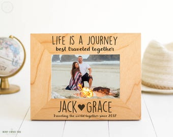 Personalized Photo Frame, Wedding Frame for Couple, Life is a Journey Travel Quote, Custom Couples Engraving, Gifts, Wedding Anniversary
