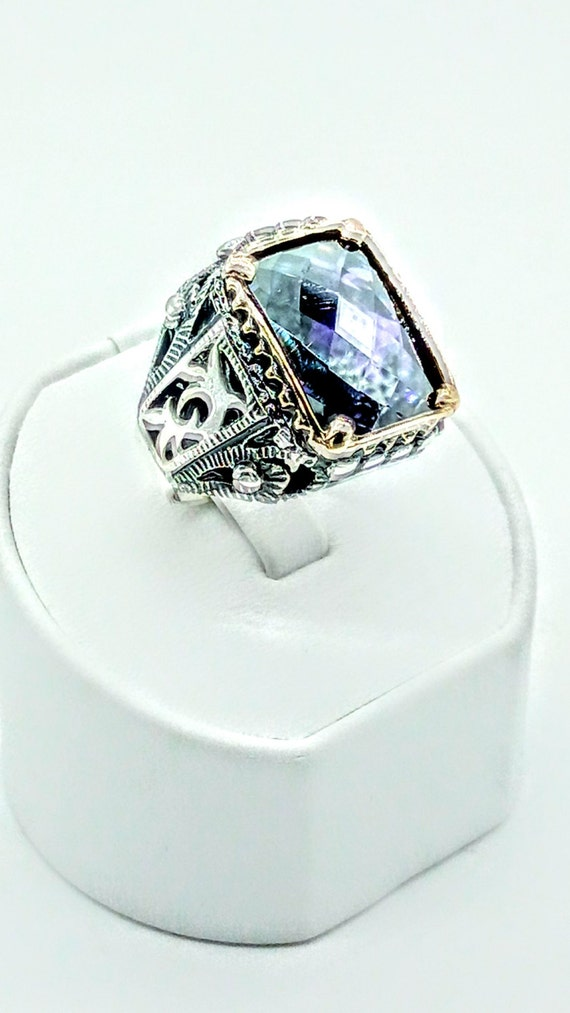 silver mens ring with amethyst by