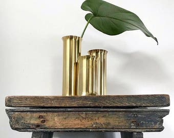 Set of 3 Mid Century Brass Cylinder Candle Holders