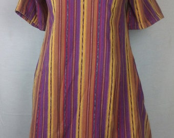 Colorful Tunic Dress, purple and orange stripes, Cotton, Vintage