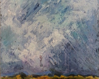 Abstract Original Painting Expressionistic Contemporary Modern Art Landscape Inspired by Nature - Stormy Sky