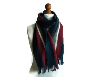 Vintage Mens Winter scarf, Fringed Mens scarf, Warm scarf, Striped scarf, Knitted scarf