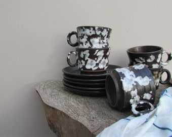 5 Vintage Brown and White Dapple Coffee Cup and Saucer Set / Southwestern Style Ceramics / Appaloosa / Mid Century Modern Decor