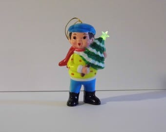 Vintage Christmas Caroler Ornament - little boy singing figurine - Lights up & plays Christmas songs watch a video! More Xmas in shoppe!