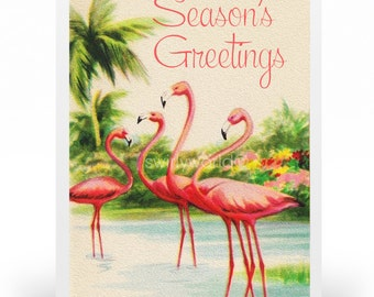 1950s vintage christmas cards printed retro 1950s vintage holiday cards vintage flamingo christmas cards - Tropical Christmas Cards