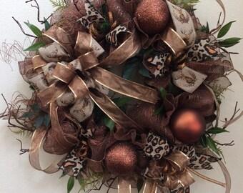 ON SALE - Copper Christmas wreath, Copper Winter wreath
