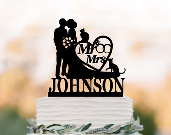 Personalized Wedding Cake topper mr and mrs, bride and groom silhouette cake toppers with two cat, heart cake decor with wedding ring