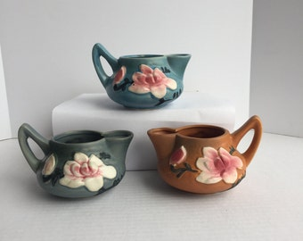 3 Vintage Roseville Reproduction Magnolia Creamers
