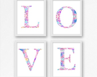 LOVE Prints Set of Four, Floral Letter Print, Floral Typography, Nursery Wall Art, Kids Room Decoration, Home Decor, Gift Ideas, Christmas