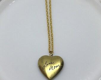 Handwriting Locket, Signature Locket, Engraved Heart Locket, Gold Heart Locket, Signature Heart Locket, Custom Handwriting, Gifts Under 30