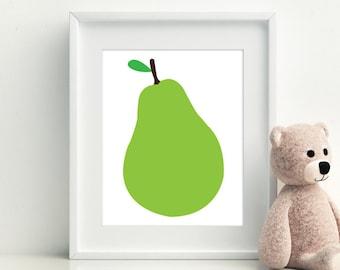 Pear Printable, Pear Home Decor, Pear Wall Art, Pear Wall Decor, Kitchen Printable, Fruit Printable, Fruit Home Decor, Frutal Decor